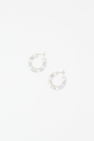 Abby Carnevale Striped Hoops in Silver and White Overhead View