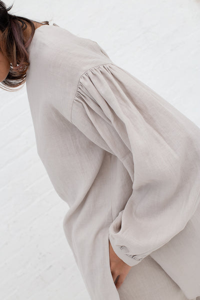 Cosmic Wonder Backless Shirt - Light Linen in Greige| Oroboro Store | New York, NY