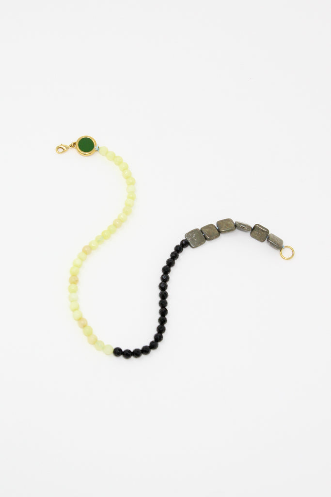 Abby Carnevale Beaded Necklace in Green Yellow and Black full view