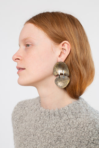 Erin Considine Moll Earrings in Hand Forged Oxidized Brass and Sterling Silver | Oroboro Store | New York, NY