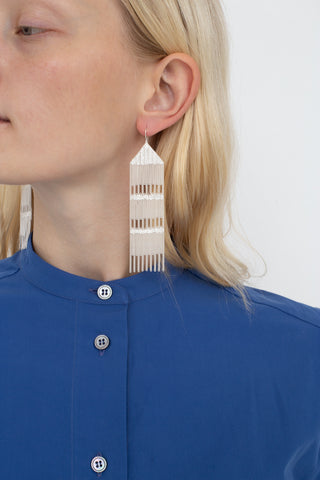 Hannah Keefe Rain Earrings in Silver | Oroboro Store | New York, NY