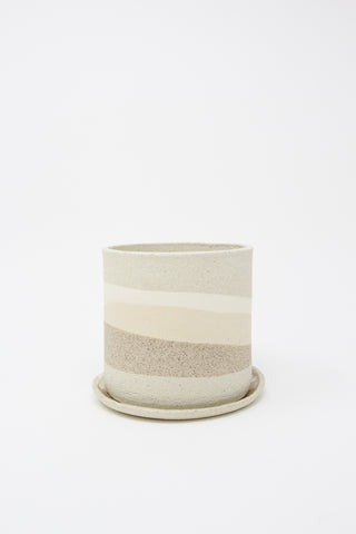 Small Ola Pot with Dish in White