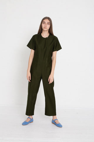 Caron Callahan Crosby Jumpsuit - Crisp Cotton Twill in Olive on model view front