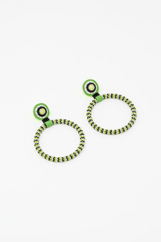 Robin Mollicone Large Beaded Hoop Earrings in Olive Jade Green Black and White Stripe, Front View, Oroboro Store, New York, NY