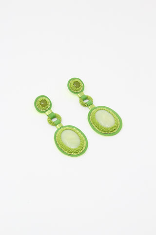 Robin Mollicone Double Stone Earrings in Olive Jade, Front View, Oroboro Store, New York, NY
