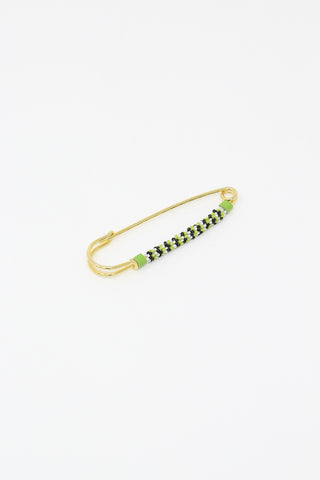 Robin Mollicone Beaded Safety Pin in Green Black and White Stripe, Side View, Oroboro Store, New York, NY
