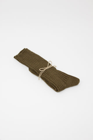 Ichi Antiquites Linen Rib Socks in Coffee