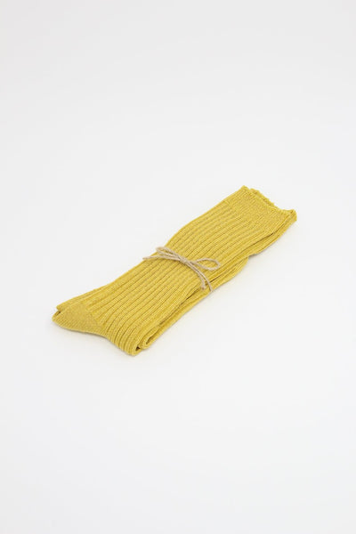 Ichi Antiquites Linen Rib Socks in Yellow