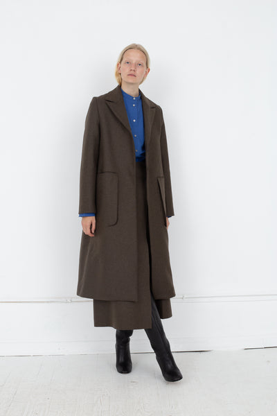 Studio Nicholson Ounce Coat in Forest Green, Front View Full Body, Oroboro Store, New York, NY
