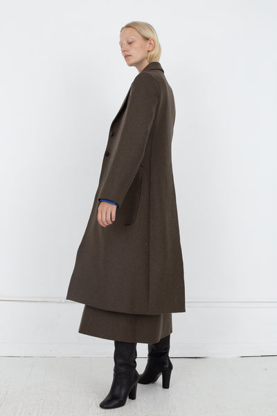 Studio Nicholson Ounce Coat in Forest Green, Side View Full Body