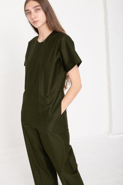 Caron Callahan Crosby Jumpsuit - Crisp Cotton Twill in Olive on model view side