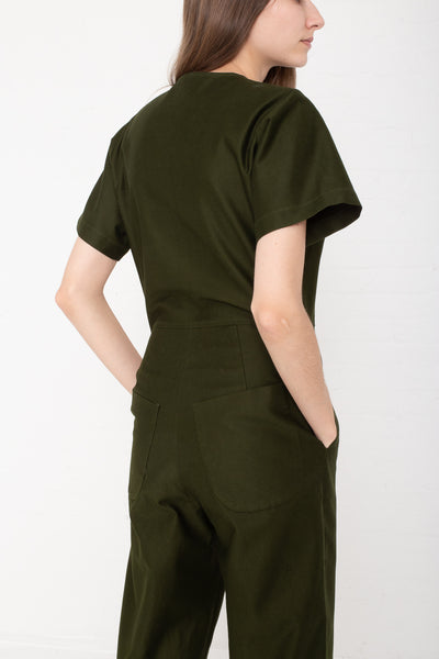 Caron Callahan Crosby Jumpsuit - Crisp Cotton Twill in Olive on model view back