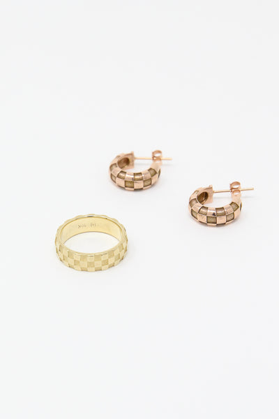 Ursa Major Medium Checkerboard Hoops with Posts in 10K Rose Gold full view