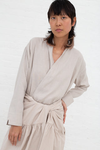 Cosmic Wonder Haori Shirt - Light Linen in Greige| Oroboro Store | New York, NY