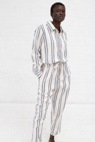 Marrakshi Life Button Down Jumpsuit in Mikael Stripe Ecru/Teal | Oroboro Store | New York, NY