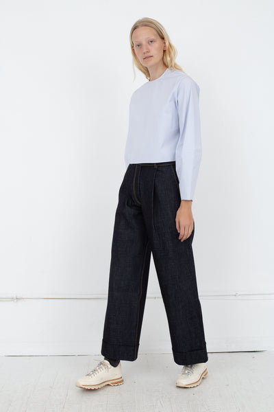 Wide Leg Pants With Turn Up Hem in Denim