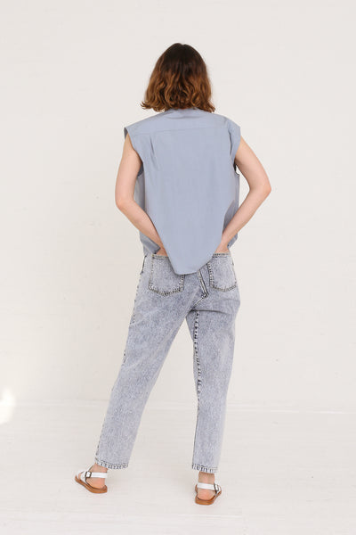 mpany Draped Placket Oversized Top in Slate on model view back