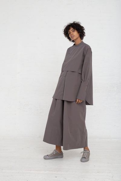 Studio Nicholson Bib Front Volume Shirt in Lead full side view