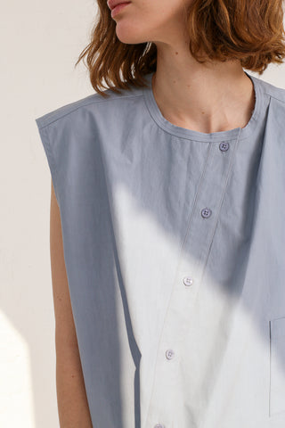 mpany Draped Placket Oversized Top in Slate on model view front detail