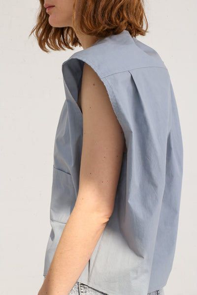 mpany Draped Placket Oversized Top in Slate on model view side