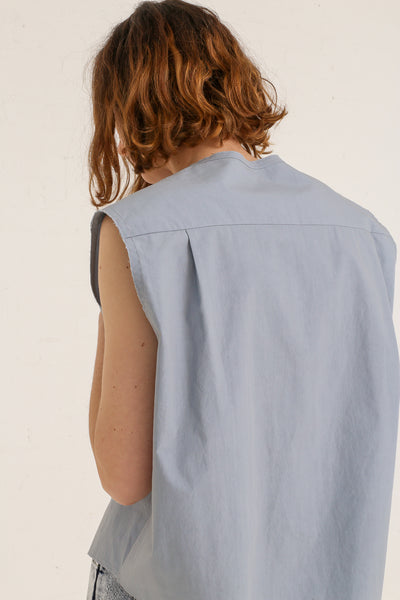 mpany Draped Placket Oversized Top in Slate on model view back detail