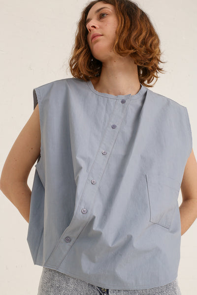 mpany Draped Placket Oversized Top in Slate on model view front