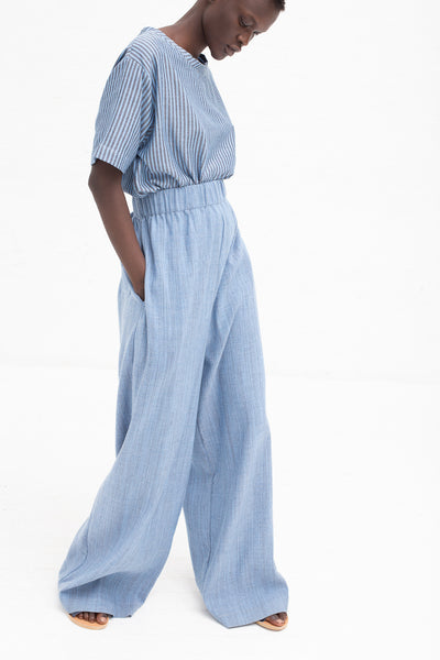 Marrakshi Life Flatweave Palazzo Pants in Solid Blue Chambray | Oroboro Store | New York, NY