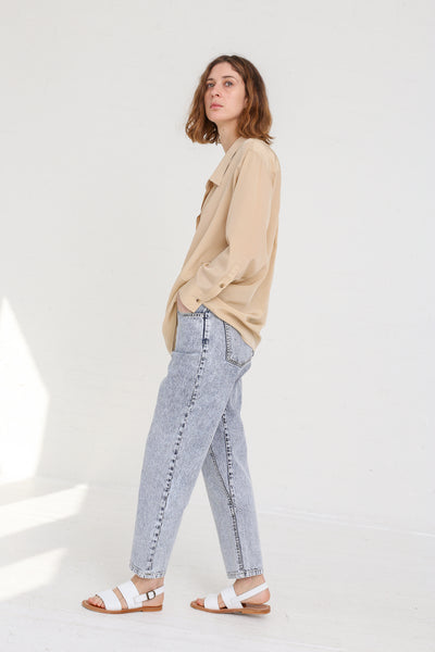 A-Company No Coins High Waisted Jean in Acid Wash Denim on model view side