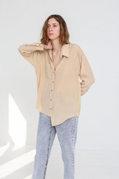 A-Company Off Kilter Shirt in Khaki on model view front