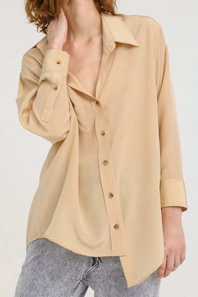 A-Company Off Kilter Shirt in Khaki on model view front detail