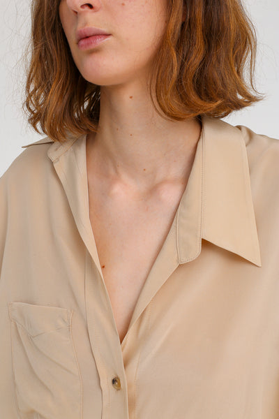 A-Company Off Kilter Shirt in Khaki on model view side collar detail