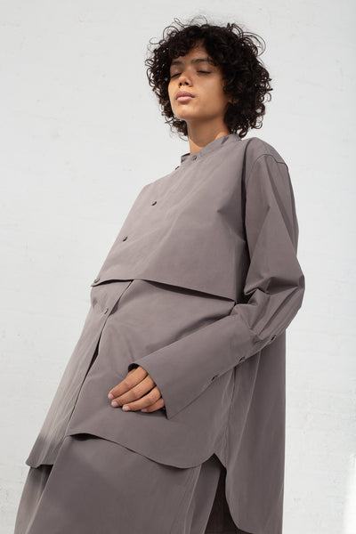 Studio Nicholson Bib Front Volume Shirt in Lead side view
