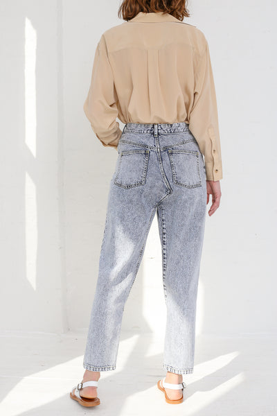 A-Company No Coins High Waisted Jean in Acid Wash Denim on model view back