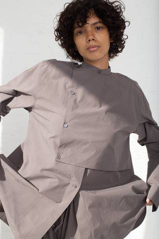 Studio Nicholson Bib Front Volume Shirt in Lead close-up front view