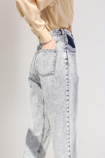 A-Company No Coins High Waisted Jean in Acid Wash Denim on model view pocket detail