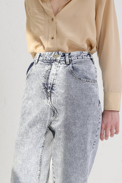 A-Company No Coins High Waisted Jean in Acid Wash Denim on model view front detail