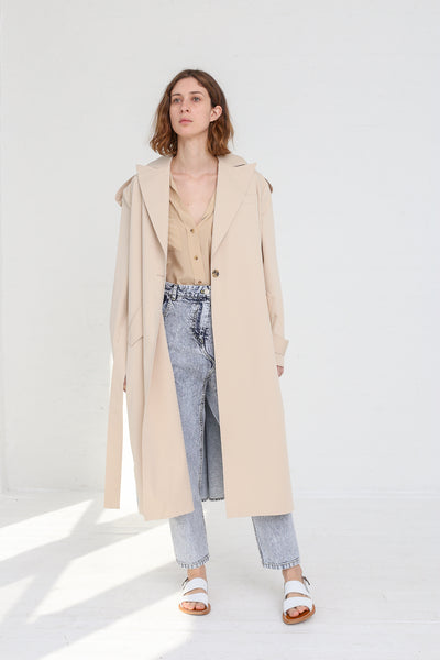 A-Company Combination Trench Coat in Khaki Acid Wash Denim on model view front