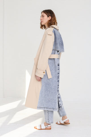 A-Company Combination Trench Coat in Khaki Acid Wash Denim on model view side