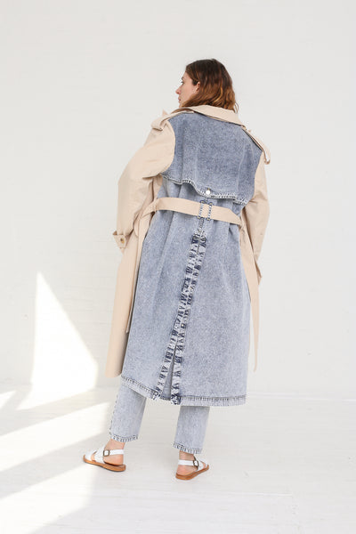 A-Company Combination Trench Coat in Khaki Acid Wash Denim on model view back