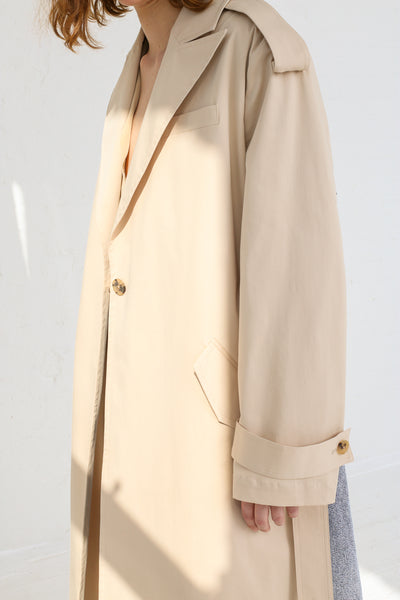 A-Company Combination Trench Coat in Khaki Acid Wash Denim on model view sleeve detail