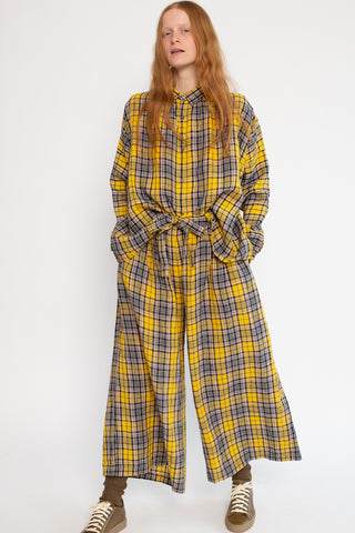 Ichi Antiquites Pant in Linen Tartan Yellow | Oroboro Store | New York, NY