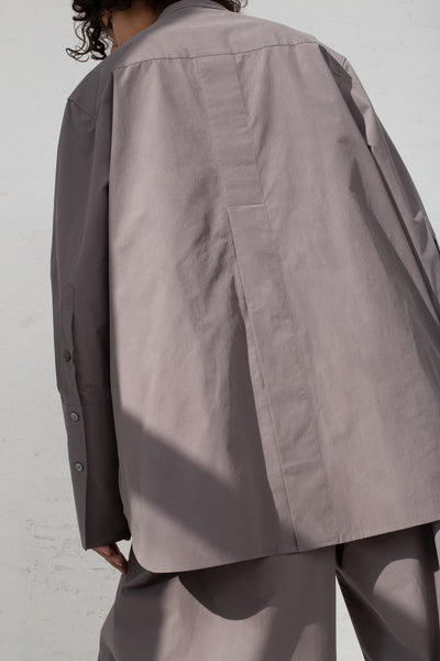 Studio Nicholson Bib Front Volume Shirt in Lead back view