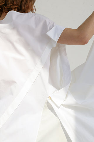 A-Company Disoriented Shirt Dress in White on model view side sleeve detail