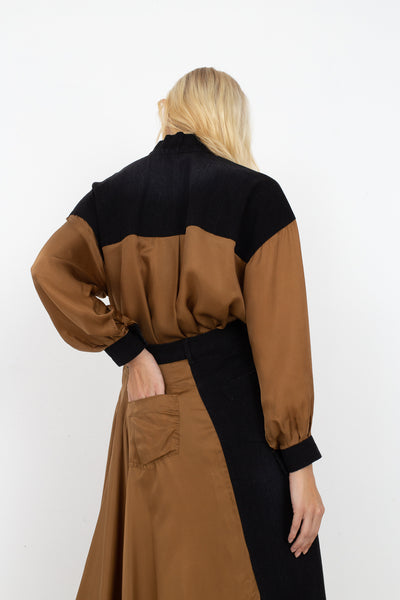 Rito Two Fabrics Combinated Skirt in Camel | Oroboro Store | New York, NY
