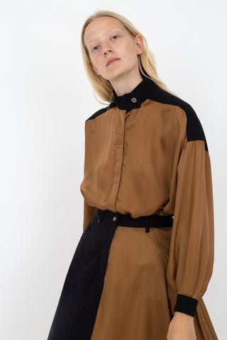Rito Two Fabric Combinated Shirt in Camel | Oroboro Store | New York, NY