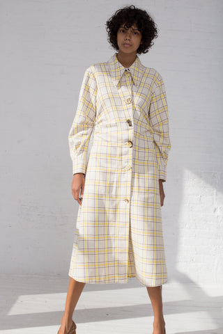 Rejina Pyo Paula Dress in Check Yellow + Brown full front view