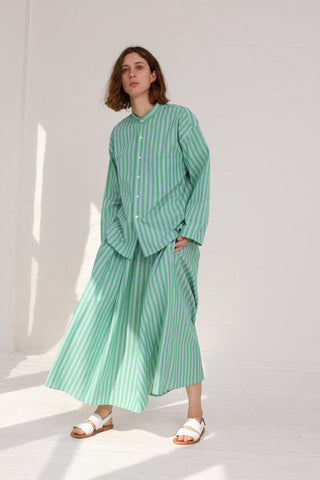 Cristaseya Japanese Cotton Maxi Skirt in Striped Green on model view front