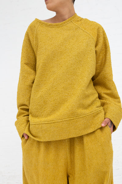 Marrakshi Life Sweatshirt in Boucle Curry, Front View Cropped Above Knee, Oroboro Store, New York, NY