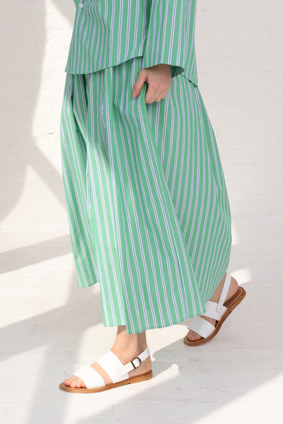 Cristaseya Japanese Cotton Maxi Skirt in Striped Green on model view side