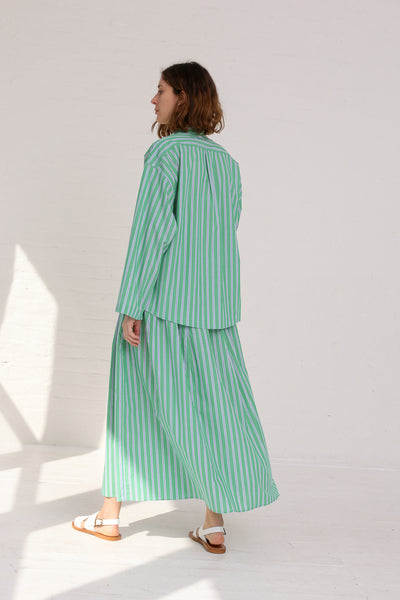 Cristaseya Japanese Cotton Maxi Skirt in Striped Green on model view back